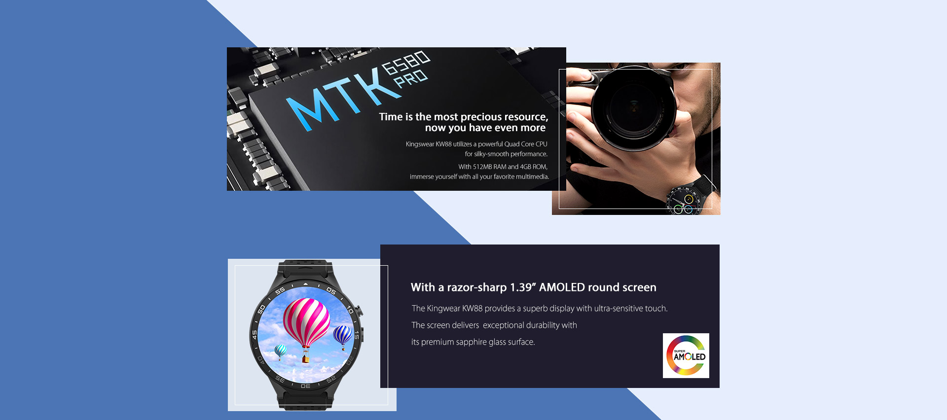 kingwear kw88 flagship smartwatch phone promotion at 99