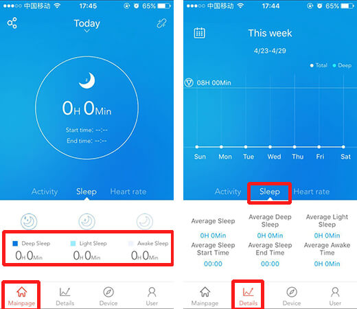sleep detection feature of ID107 smart watch