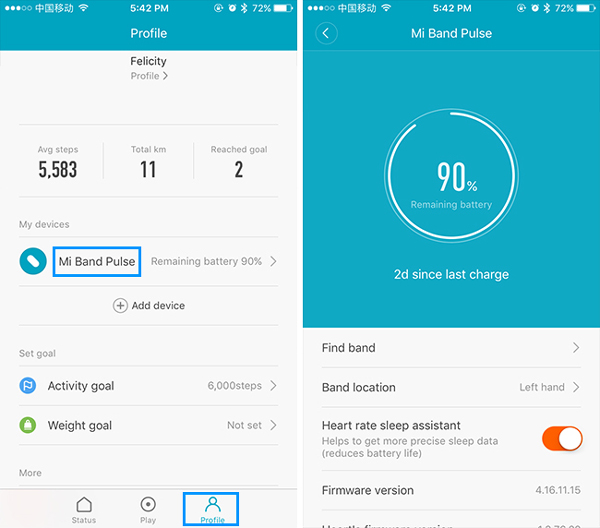 Xiaomi Mi Band 1S fitness tracker charging state