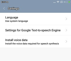 Text-to-speech Output Settings