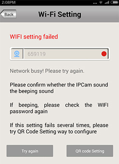 Sricam SP009 IP cam's WiFi connection fails