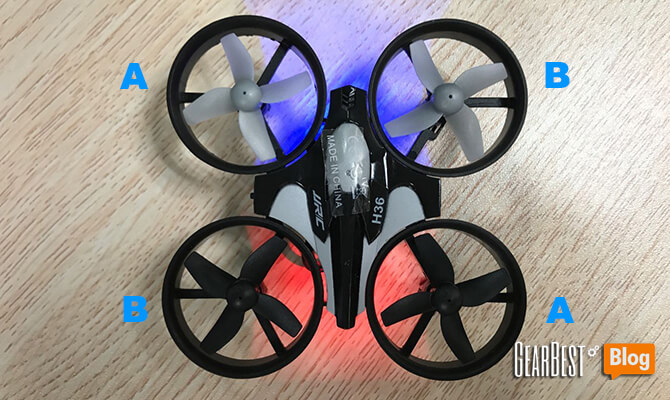 install JJRC H36's propellers wrong
