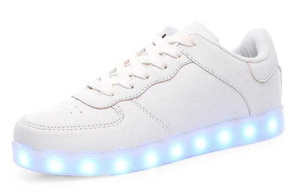 Male Casual LED Light Up Split Joint Leather Shoes