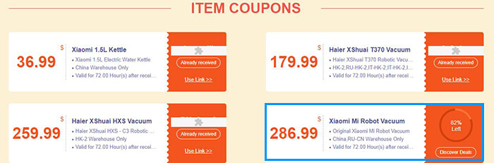 Mi Robot Vacuum coupon on Item Coupons