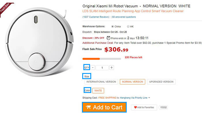 add mi robot vacuum to cart
