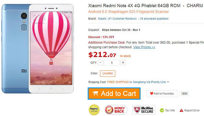 add Xiaomi Redmi Note 4X 4G Phablet to cart