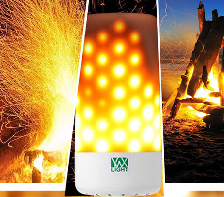 the dynamic moving flame of YWXLight LED Flame Effect Light Bulb