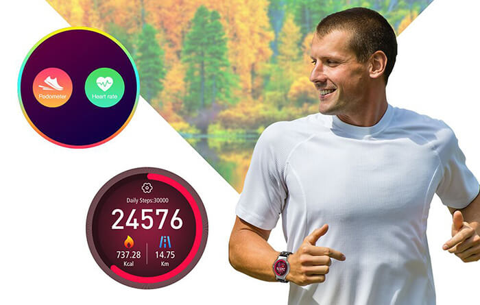 the pedometer and heart rate monitor function on KingWear KW98